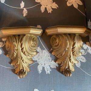 Hollywood Regency vintage gold sconce shelf